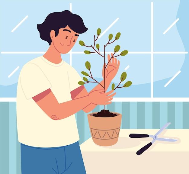 Homem cuidando de uma planta de casa