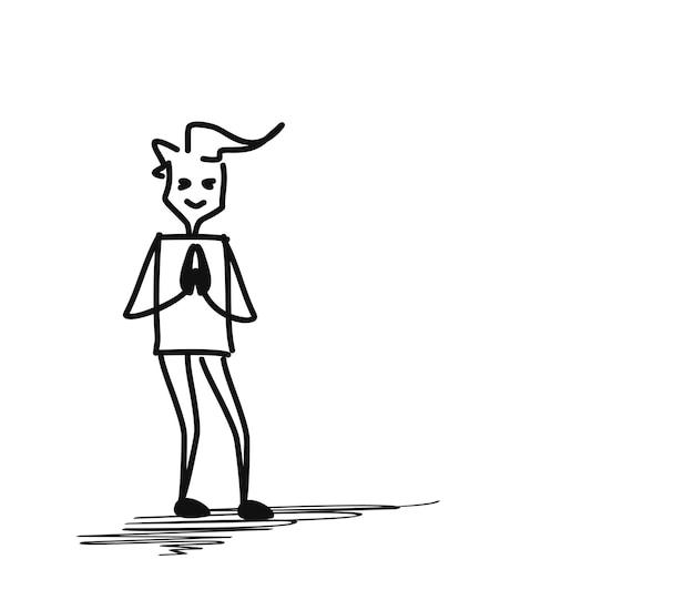 Homem cumprimentando a postura namastê, ilustração em vetor desenho mão desenhada sketch.