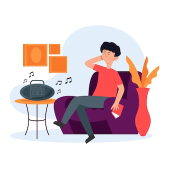 Homem curtindo música linda dentro de casa
