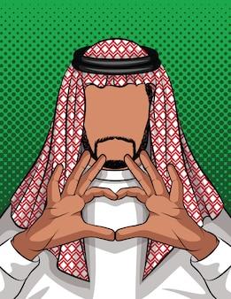 Homem da arábia saudita mantém as mãos fechadas em forma de coração
