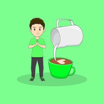 Homem dá as boas-vindas ao convidado com design de jarro de leite