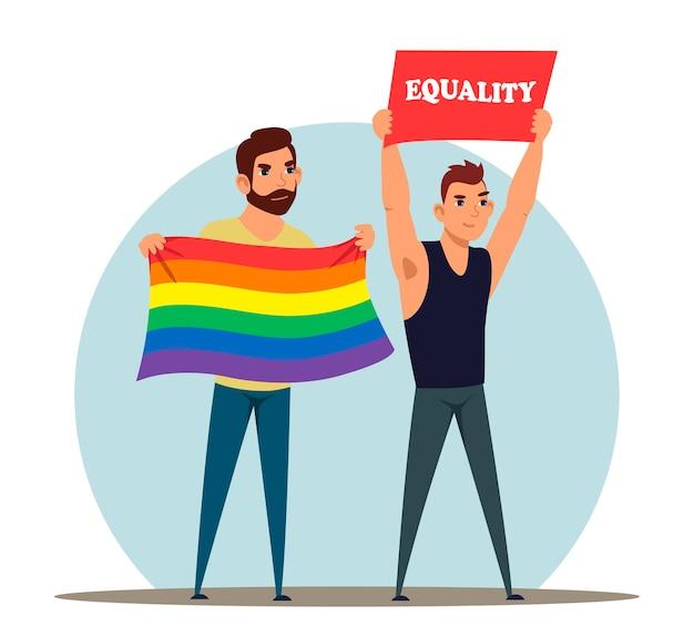Homem da comunidade lgbt protestando em manifestação segurando cartaz e uma bandeira com as cores do arco-íris