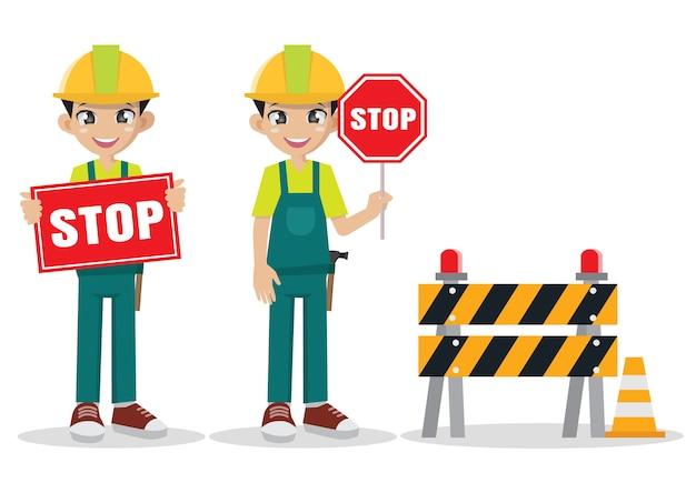 Homem da construção que mostra o sinal de estrada da parada.