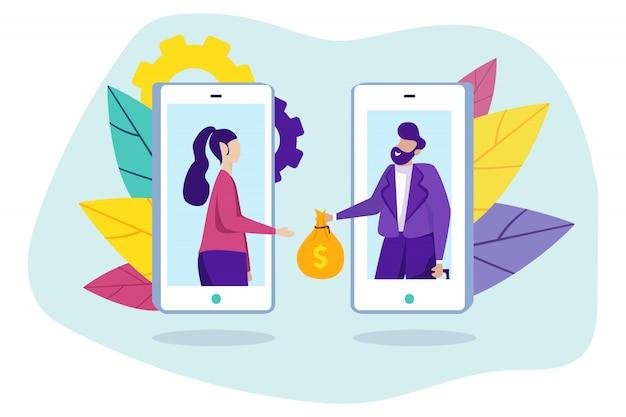 Homem dá dinheiro e mulher na tela do smartphone.