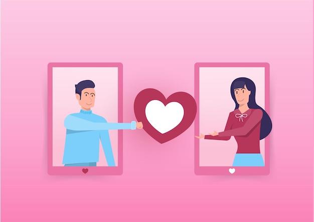 Homem dá grande coração para menina no celular. dia dos namorados. ilustração em vetor plana.
