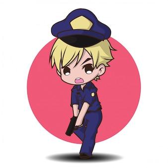 Homem da polícia bonitinho trabalhando de uniforme em pé feliz