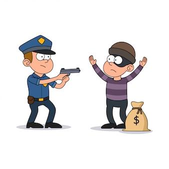 Homem da polícia pegou o ladrão