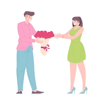 Homem dá um buquê de flores para namorada ilustração vetorial