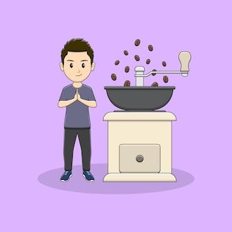 Homem dando as boas-vindas ao convidado com design de moedor de café