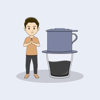 Homem dando as boas-vindas ao hóspede com design vietnam drip coffe