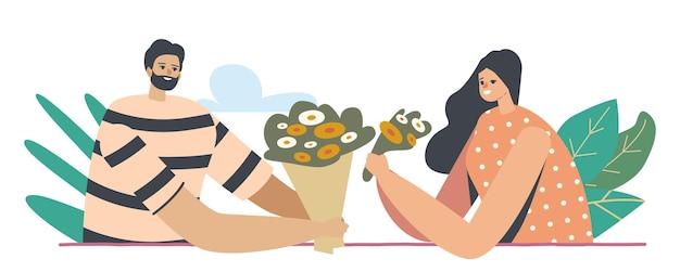 Homem dando buquê de flores para mulher jovem, personagem feminina tecendo grinalda de flores bonitas. amor, relações românticas, casal passa tempo juntos, tempo livre. ilustração em vetor desenho animado