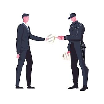 Homem dando papéis para o guarda uniformizado com o bastão achatado