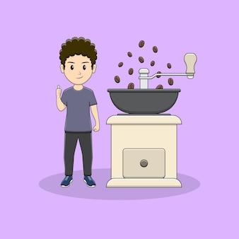 Homem dando polegar com design de moedor de café