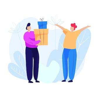 Homem dando presentes para homem