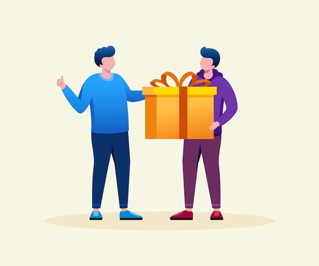 Homem dando uma caixa de presente ilustração em vetor plana