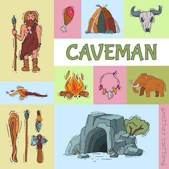 Homem das cavernas antigo, sua caverna e ferramentas para caçar.