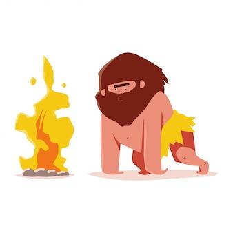 Homem das cavernas bonito com personagem de desenho animado da fogueira, isolado em um fundo branco.