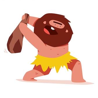 Homem das cavernas bonito com personagem de desenho animado de vetor de arma de madeira isolado.