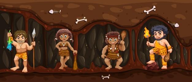 Homem das cavernas dentro da caverna escura