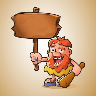 Homem das cavernas dos desenhos animados com placa