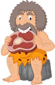 Homem das cavernas dos desenhos animados comendo carne