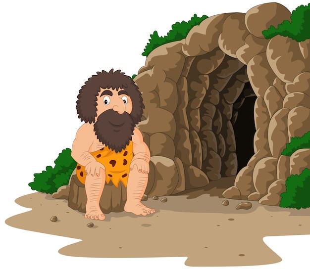 Homem das cavernas dos desenhos animados, sentado com fundo de caverna
