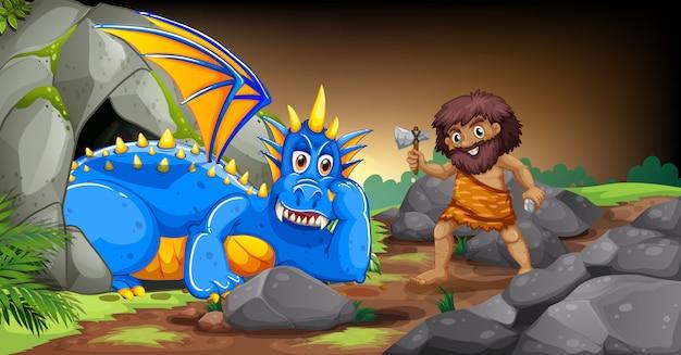 Homem das cavernas e dragão