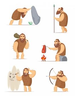 Homem das cavernas e poses de ação diferentes