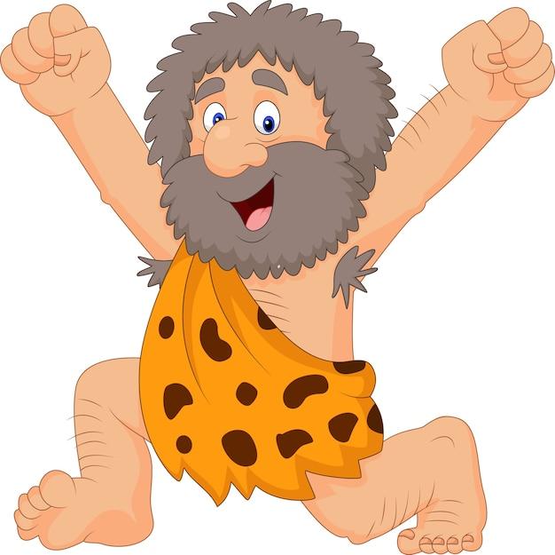Homem das cavernas feliz dos desenhos animados