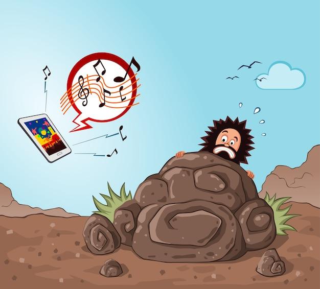 Homem das cavernas fica assustado ao ver um aparelho
