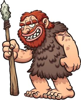 Homem das cavernas ou neandertal segurando uma lança e sorrindo.