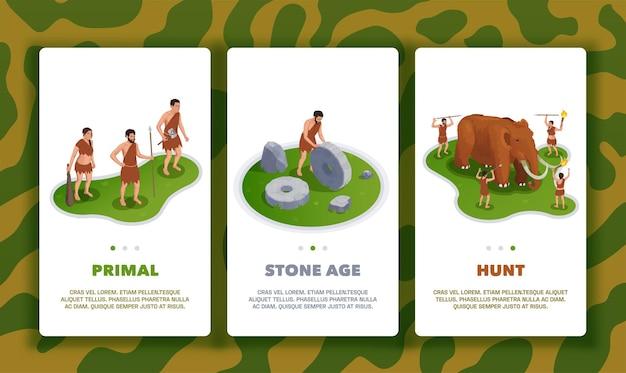 Homem das cavernas, povos primitivos pré-históricos com três banners verticais com mudanças de página de texto e imagens de vida