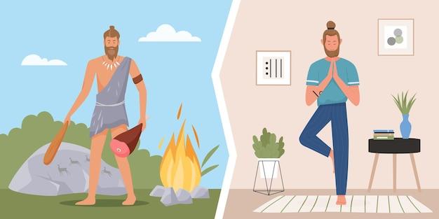Homem das cavernas primitivo, estilo de vida moderno e saudável, caçador da idade da pedra, jovem homem de ioga
