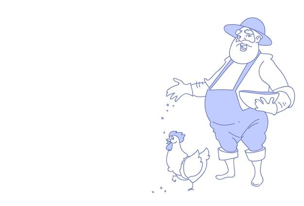 Homem de agricultor alimenta galinha de criação de galinha para esboço de fazenda de alimentos doodle horizontal