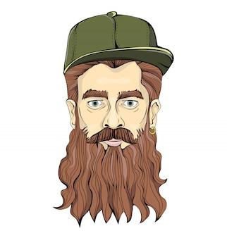 Homem de aparência hippie, com barba comprida e brinco de ouro, boné verde sobre fundo branco. imagem gráfica principal. ilustração.