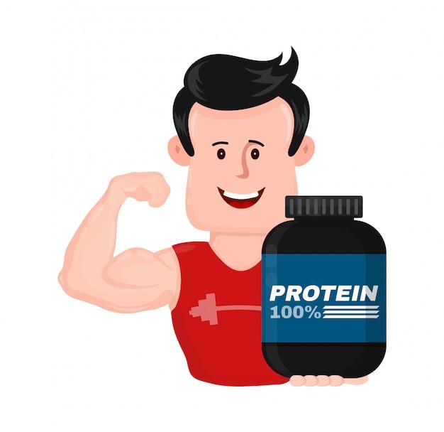 Homem de aptidão muscular forte esporte com banco de proteínas