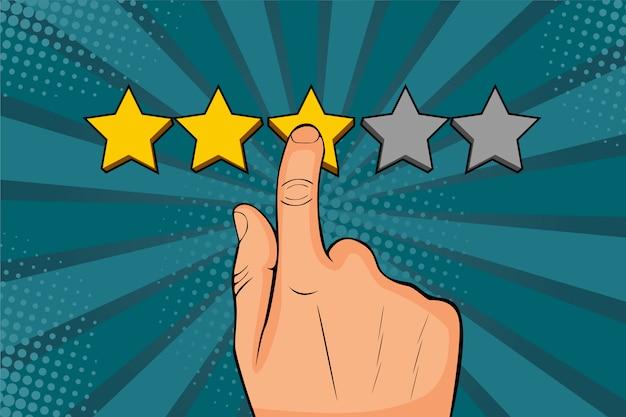 Homem de arte pop aponta o dedo para a estrela, coloca classificação, recorda como um estrelas douradas