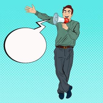 Homem de arte pop com promoção de megafone.