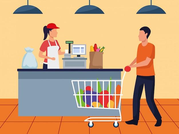 Homem de avatar com carro de supermercado cheio na caixa registradora, design colorido