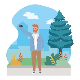 Homem de avatar com smartphone tomando uma selfie