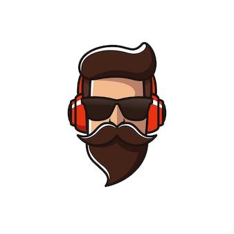 Homem de barba com modelo de logotipo de fone de ouvido