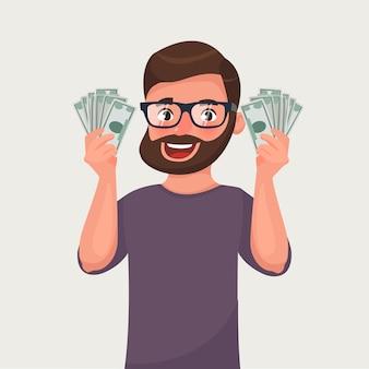 Homem de barba hipster dos desenhos animados