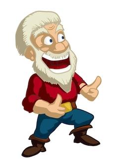 Homem de barba loiro feliz mostrando o polegar para cima