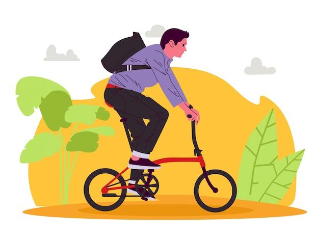Homem de bicicleta com ilustração de bicicleta dobrada