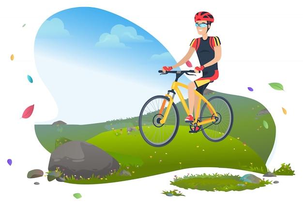 Homem de bicicleta de montanha levando estilo de vida ativo