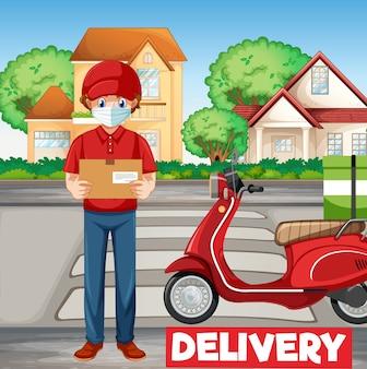 Homem de bicicleta ou mensageiro entregando um pacote