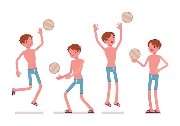 Homem de calção de banho azul, jogando vôlei de praia