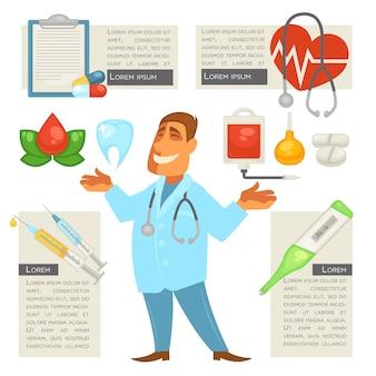Homem de caráter médico com conjunto de ícones médicos.
