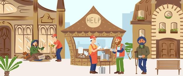 Homem de caráter voluntário ajuda pessoas, macho alimenta pessoas pobres e carentes, humano com deficiência recebe ilustração plana de apoio.