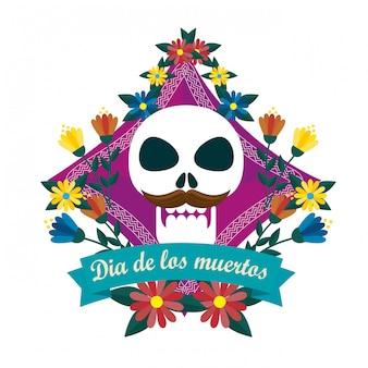 Homem de caveira com flores para o dia dos mortos